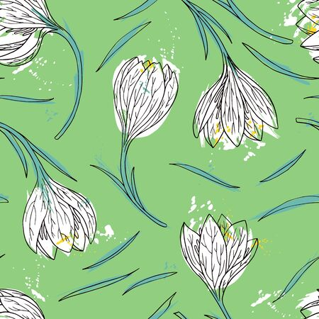 snowdrops: vector watercolor floral seamless pattern with snowdrops, hand drawn vector background Illustration