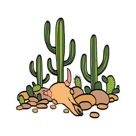 scull: cactus, cow scull and stones at white background, hand drawn vector illustration Illustration