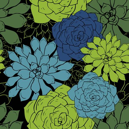 peyote: abstract vector seamless pattern with succulents, hand drawn vector background