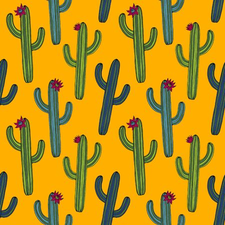 peyote: abstract vector seamless pattern with cactus, hand drawn vector background