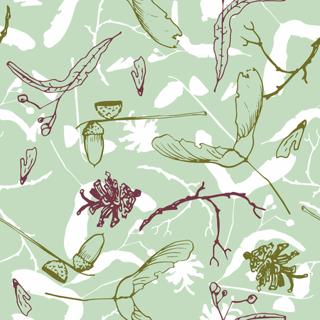 woodsy: seamless pattern with twigs and seeds, acorns  and pine cones, hand drawn vector illustration