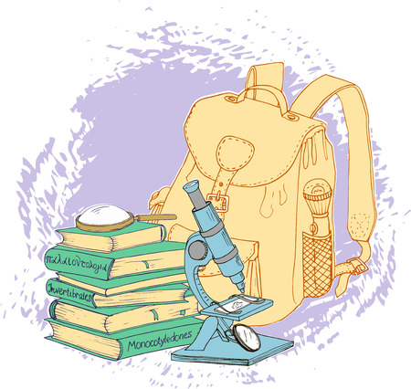 the encyclopedia: vector set of scientist, traveler and explorer objects,encyclopedia books, backpack and microscope Illustration