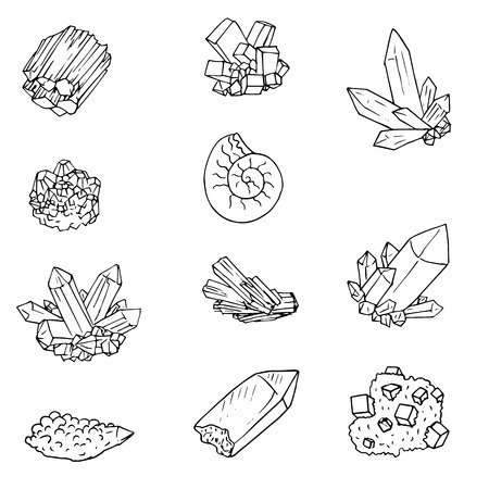 minerals,stones and cristals, ink drawing isolated elements at white background,hand drawn vector illustration Illustration