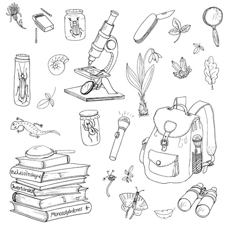 vector conjunto de científicos, viajeros y explorador de objetos, libros de la enciclopedia, la mochila y el microscopio