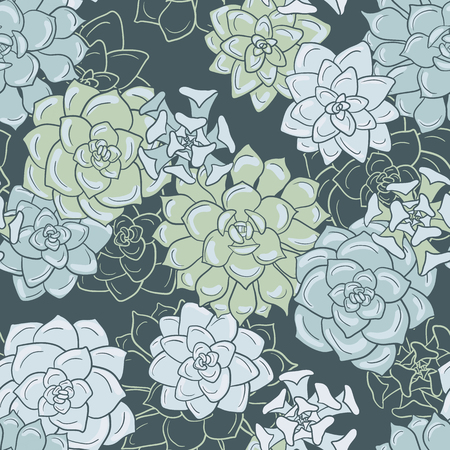 abstract vector seamless pattern with succulentes, hand drawn vector background