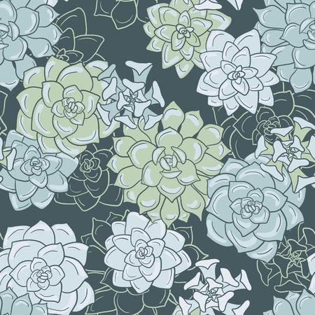 succulentes, 손으로 그린 벡터 배경으로 추상적 인 벡터 원활한 패턴