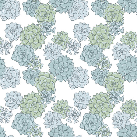 peyote: abstract vector seamless pattern with succulentes, hand drawn vector background