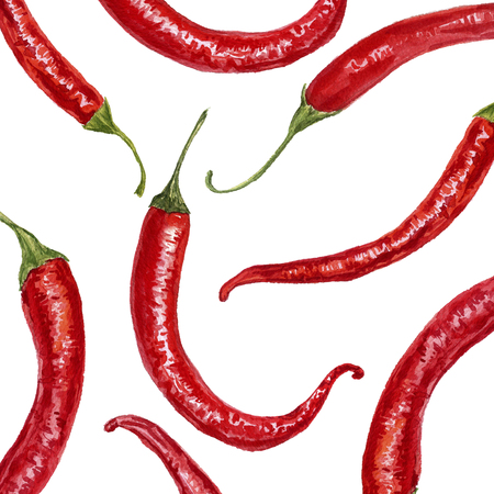 background with watercolor red chili peppers, hand drawn artistic illustration, design template
