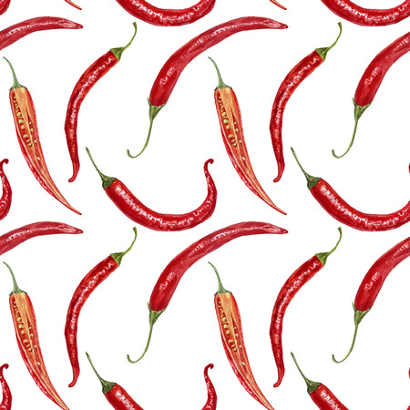 seamless pattern with watercolor red chili peppers, hand drawn artistic illustration, watercolor background