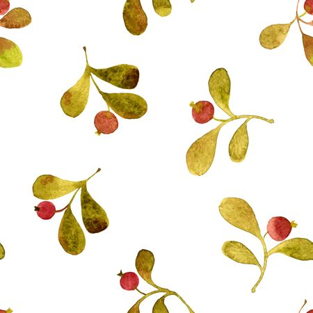 red berries: vector watercolor seamless pattern with green leaves and red berries, hand drawn vector background