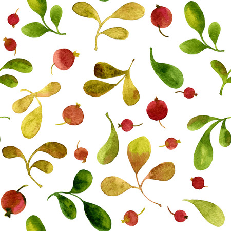 vector watercolor seamless pattern with green leaves and red berries, hand drawn vector background