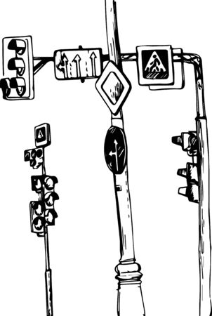 urban sketch, crossroad with street lamps and road signs, hand drawn vector illustration Illustration