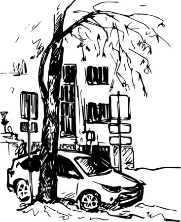 building sketch: urban sketch, building and car parked near the tree, hand drawn vector illustration Illustration