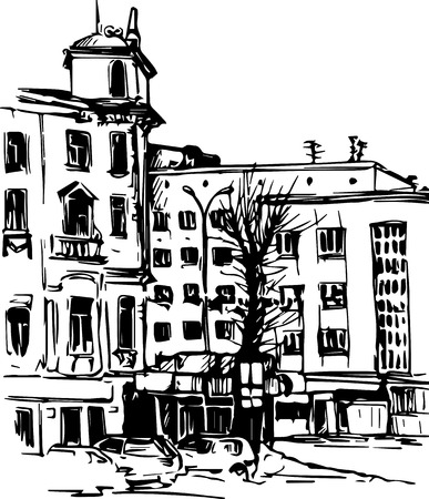 old city: urban sketch, city street with buildings and trees, hand drawn vector illustration Illustration