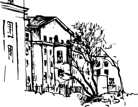 urban sketch, city street with buildings and trees, hand drawn vector illustration Illustration