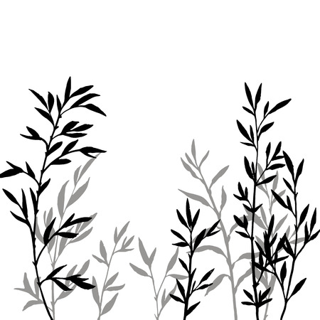 thicket of branches with leaves, bamboo shoots,isolated hand drawn vector elements