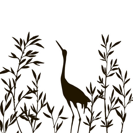 thicket: heron in thicket of branches with leaves,crane bird and bamboo shoots,hand drawn vector illustration