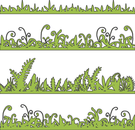 wild grass: abstract vector landscapes with grass and plants, cartoon wild herbs, green jungle vegetation, hand drawn vector background