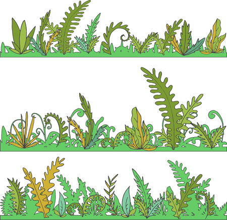 jungle plants: abstract vector landscapes with grass and plants, cartoon wild herbs, green jungle vegetation, hand drawn vector background