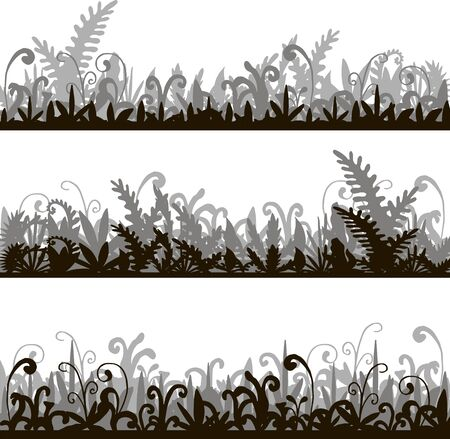 wild grass: abstract vector silhouettes landscapes with grass green jungle vegetation, cartoon wild herbs, jungle vegetation, hand drawn vector background