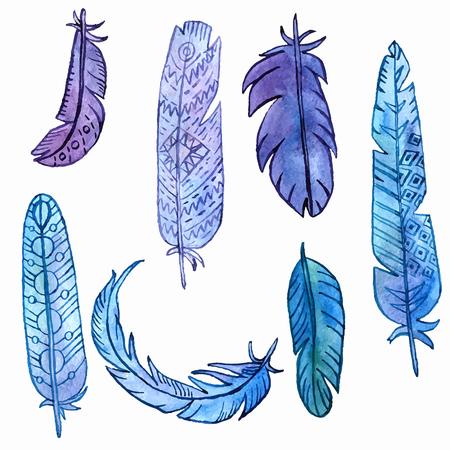 ensemble de vecteurs d'aquarelle plumes de dessin, couleur fleuri plumelet isolé au fond blanc, éléments vectoriels dessinés à la main