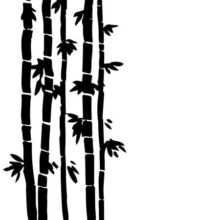 stalks: monochrome  bamboo grove, fresh bamboo stalks, bamboo forest, hand drawn vector illustration Illustration