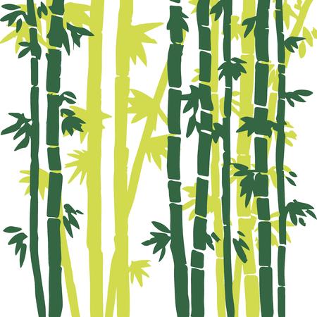 grove: monochrome  bamboo grove, fresh bamboo stalks, bamboo forest, hand drawn vector illustration Illustration