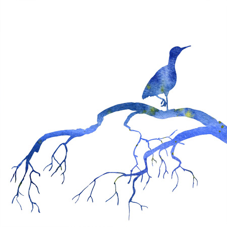 blue heron: silhouette of bird at tree drawing in watercolor, hand drawn heron at tree branch, blue sky silhouette
