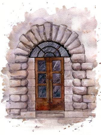 old door: old door in the stone wall of the building, painted in watercolor Stock Photo