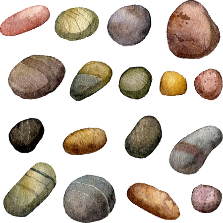 pebbles: vector sea stones drawing in watercolor, pebbles isolated at white background, hand drawn watercolor illustration Illustration