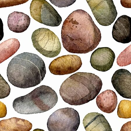 pebbles: vector seamless pattern with sea stones drawing in watercolor, pebbles at white background, hand drawn vector watercolor background Illustration