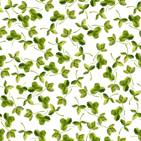 clover backdrop: seamless pattern with watercolor drawing clover leaves, painted  wild plants, botanical illustration in vintage style, background for saint patricks day, color drawing floral backdrop