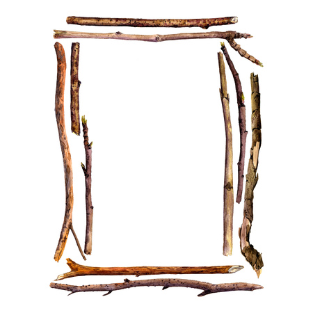 wood frame: rectangle frame with watercolor wood twigs,isolated hand drawn nature objects, tree branches, wooden sticks, hand drawn illustration, nature template,forest background Stock Photo