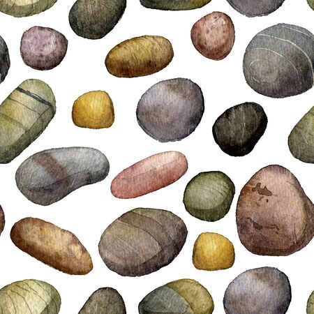 river rock: seamless pattern with sea stones drawing in watercolor, pebbles at white background, hand drawn watercolor illustration