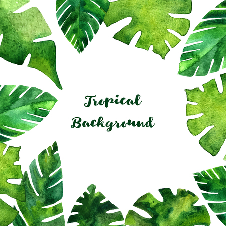 background with watercolor green  leaves of palm tree, exotic leaves, tropical nature background, hand drawn