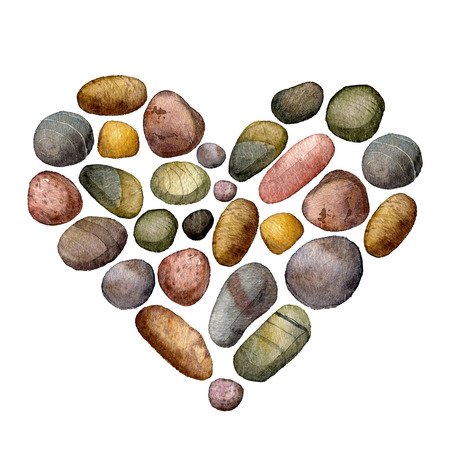 pebble: heart with sea stones drawing in watercolor, pebbles isolated at white background, hand drawn watercolor illustration Stock Photo