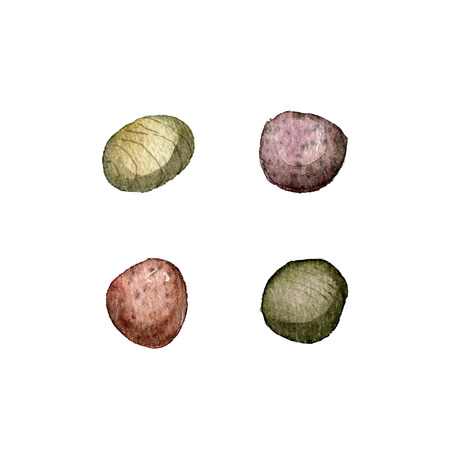 pebbles: sea stones drawing in watercolor, pebbles isolated at white background, hand drawn watercolor illustration