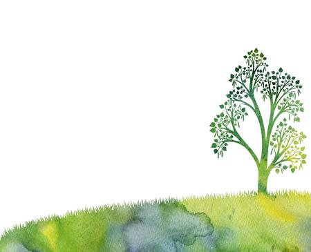 水彩、功妙な手の絵画、自然の背景、手描きイラストの描画草の葉樺の木のシルエット