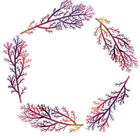 sea weeds: silhouette floral composition with wild plants drawing in watercolor, drawing floral card, round frame, invitation template, purple seaweeds, watercolor artistic painting background