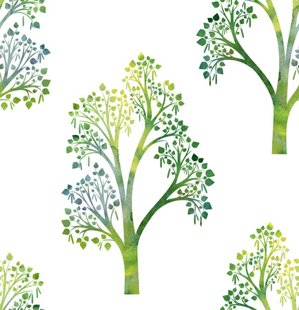birch forest: seamless pattern with green silhouette of birch tree branches with leaves drawing in watercolor, hand drawn artistic illustration, nature background, forest backdrop