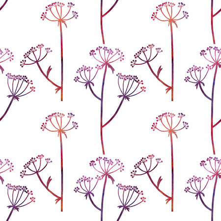 dill: floral seamless pattern with dill plants drawing in watercolor, floral composition with wild plants, drawing floral ornament, watercolor artistic background, hand drawn illustration