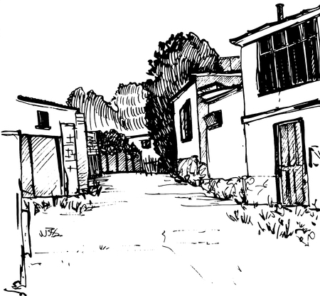 village street, urban sketch, road and buildings, hand drawn illustration by ink pen