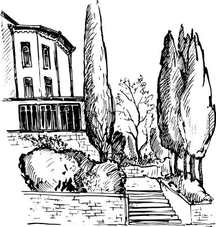 family in front of house: house in a park with stairs and cypress trees, urban sketch, stairway in garden, hand drawn illustration by ink pen
