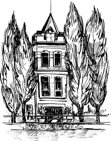 mansion: three-story mansion with a clock on the tower, surrounded by cypress trees, urban sketch, house in the park, hand drawn illustration by ink pen Illustration