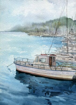 harbor: watercolor sea landscape with boats, blue waves and reflection in water, hand drawn illustration, painting ocean