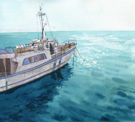 water reflection: watercolor sea landscape with boats, blue waves and reflection in water, hand drawn illustration, painting ocean