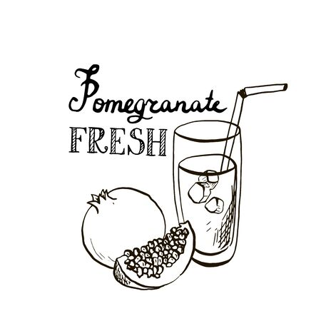 fruit smoothie: hand drawn pomegranate juice in glass, exotic fresh, fruit smoothie, ink drawing elements