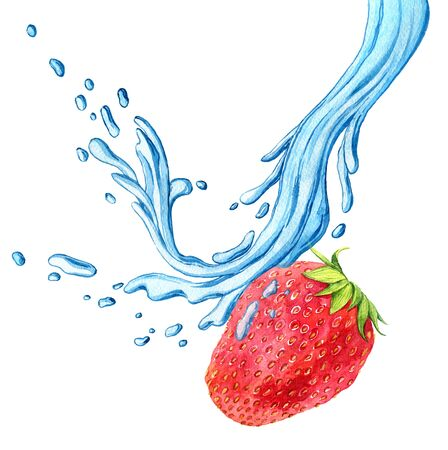 watercolor drawing strawberry with water splash, appetite red berry with green leaves and drops isolated at white background, hand drawn illustration