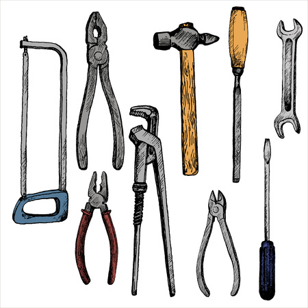 hand drawn tool kit isolated at white background, screwdriwer, saw and pliers, hummer and wrench, vintage ink drawing vector illustration
