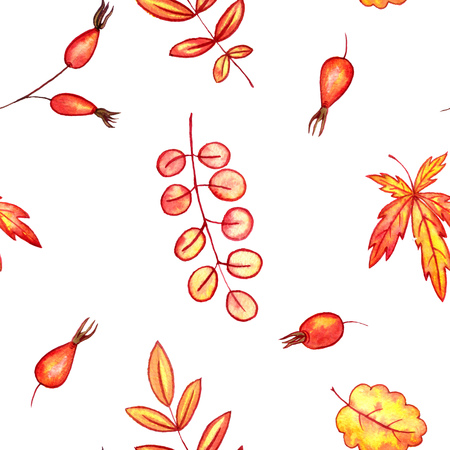 seamless pattern with autumn watercolor leaves and berries, hand drawn design elements